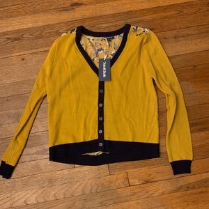 Modcloth Yellow & Blue Floral Cardigan Large New